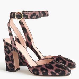 J. Crew Harlow ankle-strap pumps in leopard velvet